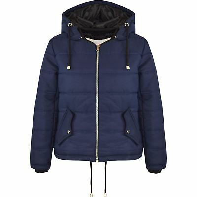 Girls Jacket Kids Navy Cropped Padded Puffer Bubble Hooded Warm Coats 3-13 Years