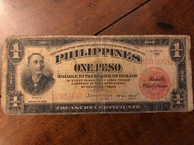 1 PHILIPPINES 1 Peso Silver Certificate 1936 Red