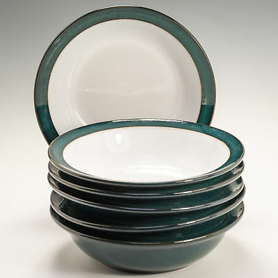 Denby GREENWICH GREEN 6 Rim Cereal Soup BOWLS Unused 1st Quality original labels