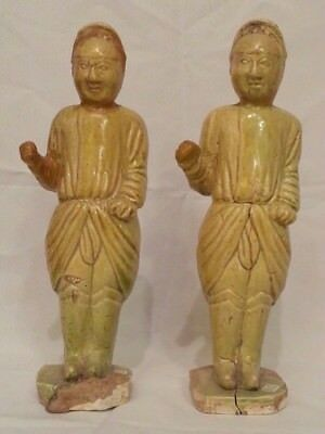 Asian Antiques Chinese Tang Dynasty, Pottery Women Statue-Sold by 2 Pcs Together