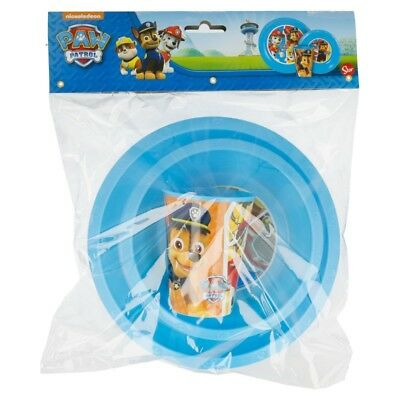 Kids Childrens Paw Patrol Plastic 3 Pc Meal Breakfast Plate Bowl Cup Dinner Set