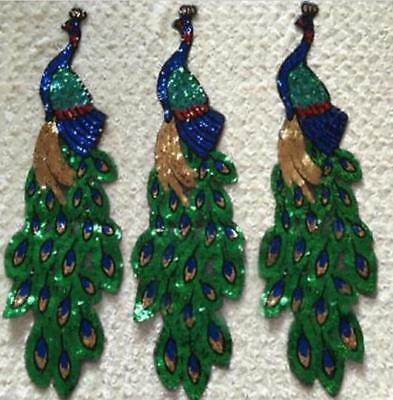 Embroidery Peacock Pattern Patches Sequin Motifs Iron On Patch Clothing Applique