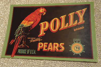 Polly Brand Pears Vintage Fruit Crate Label postcard