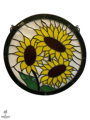 """Tiffany Style Round 19"""" Stained Glass Window Panel with Sunflowers. Beautiful."""