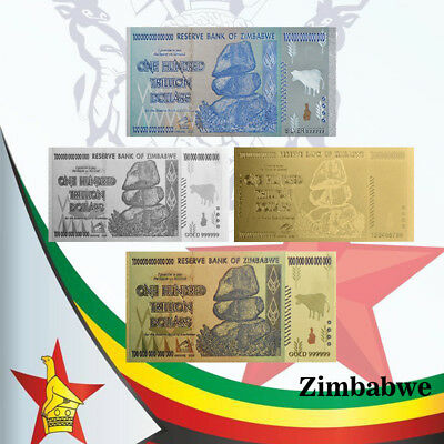 WR Zimbabwe 100 Trillion Dollar 4PCS Color Gold / Silver Banknote Gift Set COA