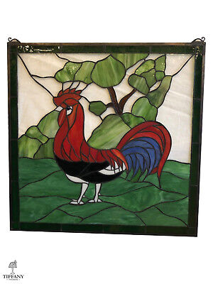 """Tiffany Style 24x24"""" Stained Glass Window Panel with Red Rooster. Superb."""