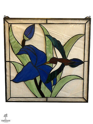 "Tiffany Style 24x24"" Stained Glass Window Panel with Hummingbird & Blue Flower."