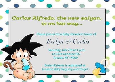 Goku From Dragon Ball Z Baby Shower Invitation 2 00 Picclick