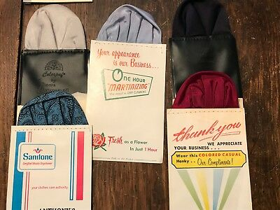 Lot of FIVE Vintage Dry Cleaners Advertising Men's Hankies Squares Rounds