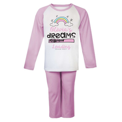 Personalised Dreams Loading  Pjs Kids Pyjamas Childrens Girls Nightwear Unicorn