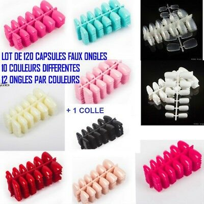 Lot 120 Capsules Tips Faux Ongle 10 Couleurs Gel Uv Vernis Colle Lime Ong700