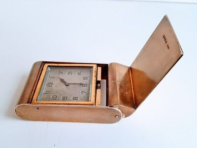 Art Deco Sterling Silver and Gold Asprey Jaeger Lecoultre? 8 Day Travel Clock