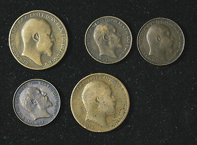 Lot of 5 Great Britain Edward VII Farthing, Half 1/2 Penny 1902-1909