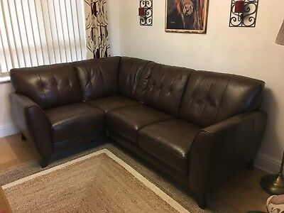 Sofology Pucci Small Brown Leather Corner Sofa Shallow Depth