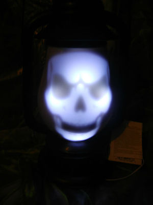 Animated Haunted Graveyard Lantern Skeleton Led Lighted / Talking Halloween Prop