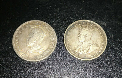 Two Australian One Florin Silver Coins; 1927 and 1921