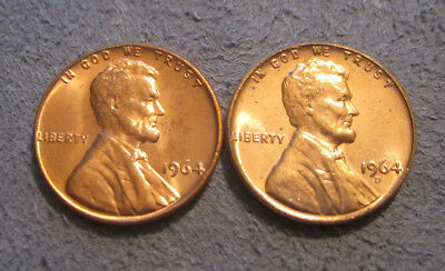 1964 Unc P & D Lincoln Cents // From A Mint Set  // Mc 661