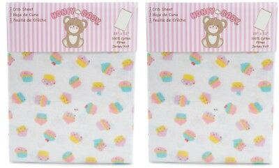 Honey Baby Cupcake Toddler Bed or Crib Sheets 2-Pack (100% Cotton)