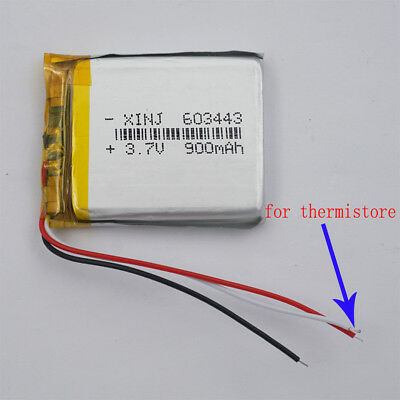 Polymer Li Battery 3.7V 900mAh 3 wires thermistor For Tablet PC PDA GPS 603443