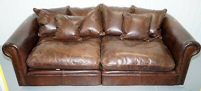 Rrp £3999 Knightsbridge Collin & Hayes Brown Leather Sofa Splits In 2 Pieces