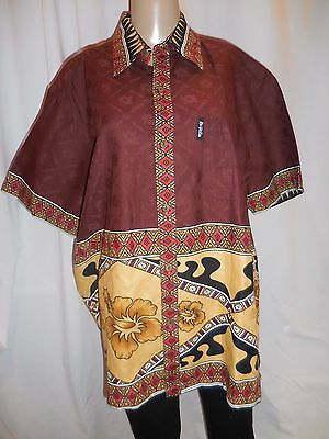 KAI-VEIKAU Cotton Hawaiian Island Short Sleeve Summer Beach Wear Button Down XL