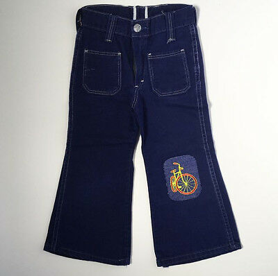 70's High Waist Kids Bicycle Patch Bellbottom Flared Jeans 2T 3T 4T FREE SHIP
