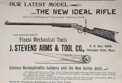 1895 Ad(29)~J.stevens Arms & Tool Co. Chicopee Falls, Mass. New Ideal Rifle