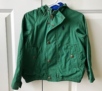 RALPH LAUREN Toddler Boys' Hooded Windbreaker In Size 2T Green Blue