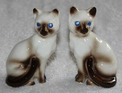 Vintage Ceramic Siamese Cat Salt And Pepper Shakers With Blue Rhinestone Eyes