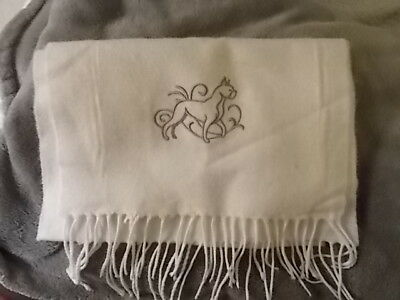 New CASHMERE FEEL Super Soft off white neck scarf with dog embroidered:  BOXER
