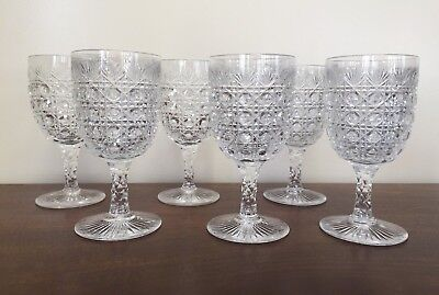 Antique ABP Brilliant Cut Glass Cane & Fan Water Wine Goblet ~ Set of 6