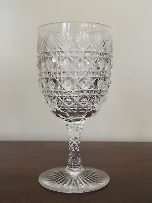 Antique ABP Brilliant Cut Glass Cane & Fan Water Wine Goblet