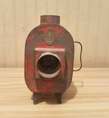 Antique Metal Lantern Oil Lamp Projector Slide Projection Toy