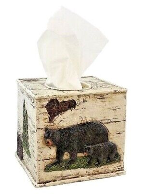 Black Bear Tissue Cover Birch Bark Paint- Square - Polyresin, Bathroom Accessory