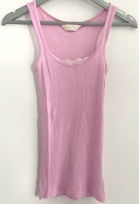 Peter Alexander Womens Pink Lace Ribbed PJ Singlet Size XS