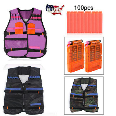 Kids Adjustable Tactical Vest Suit Kit for Nerf N-strike Elite Series Gun Toy US