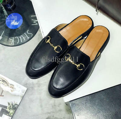mens slip on horsebit backless slippers synthetic Leather loafers shoes 2018