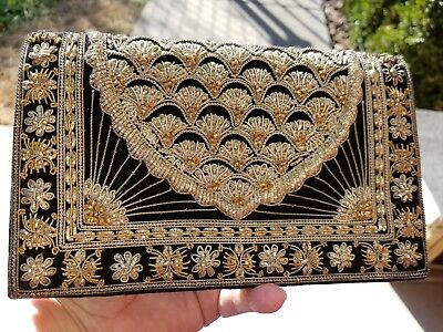 BRIGHT & CLEAN True Zari Vintage Clutch STERLING SILVER GILT Thread Silk India