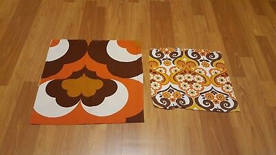 Awesome RARE Vintage Mid Century retro 70s orange brown pillowcase pair fabric!