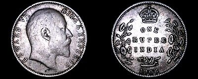 1906 C Indian 1 Rupee World Silver Coin - British India