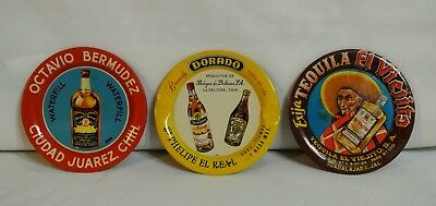 Lot of 3 Vintage Mexican Alcohol Tin Tip Trays