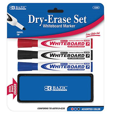 Bazic White Board Markers 3 Colors With Free Eraser Free Shipping  Only $1.00
