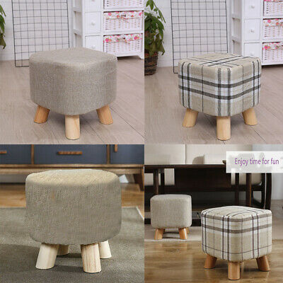 Sensational Small Round Wooden Footstool Ottoman Pouffe Stool Padded Ocoug Best Dining Table And Chair Ideas Images Ocougorg
