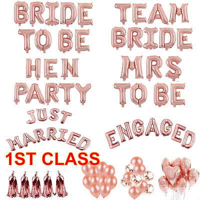 Bride Mrs To Be Hen Party Foil Latex Engaged Letter Balloon Helium Heart Wedding