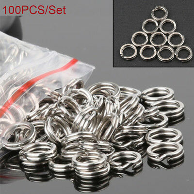 100PCS Fishing Solid Stainless Steel Snap Split Ring Lures Tackle Connector 2018