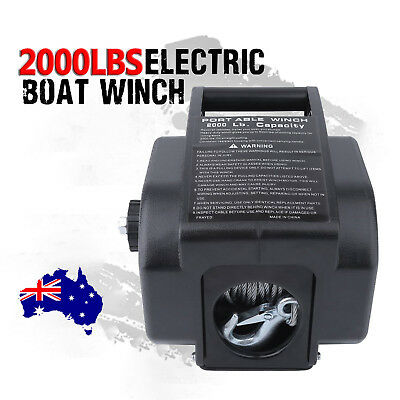 2000LBS / 907kg Detachable Portable Electric Winch 12V Marine Boat 4WD ATV BG