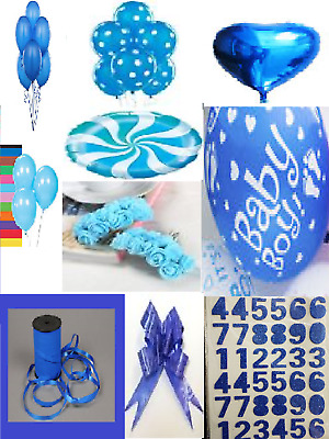 Blue Colour Theme Party All Balloons,Curling Ribbon,Foam Letters,foam flowers