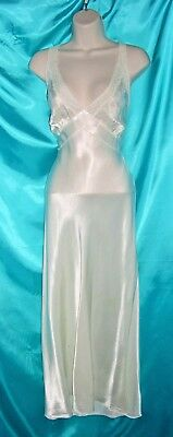 40's EXQUISITE White Silky SATIN Vintage LACY Long Lingerie NIGHTGOWN 34