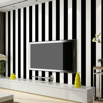 10m Modern Minimalist Black And White Striped Wallpaper
