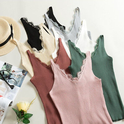 Women Knitted Lace Summer V Neck Vest Top Sleeveless Blouse Tops T-Shirt Tee New